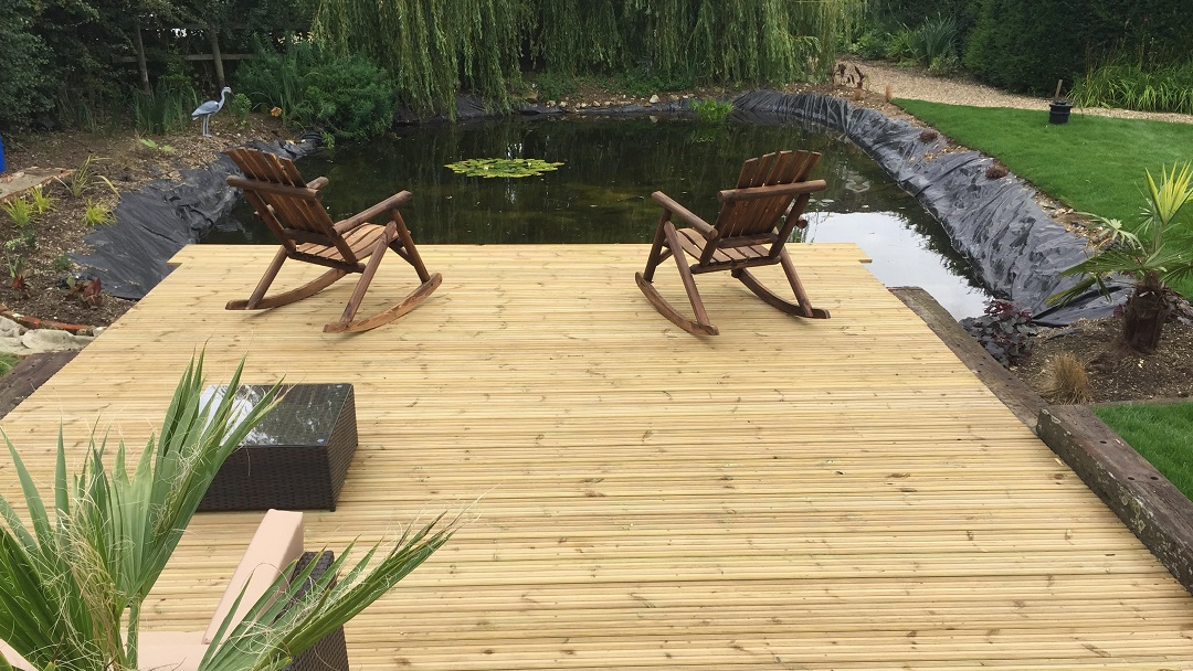 Overlooking the pond from the decking area